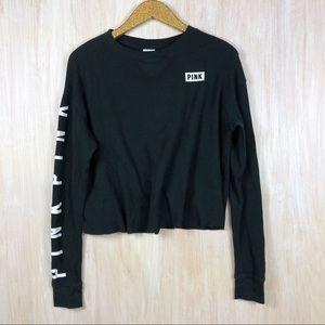 Victoria's Secret PINK Black Thermal Cropped Shirt